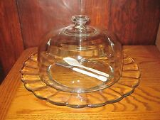 Clear Round Heavy Glass Cake Plate and Covered Dome w/ SERVING PIECES EUC