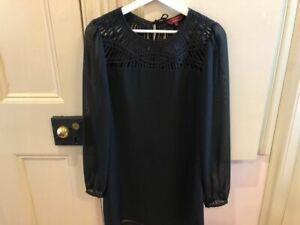 Ted Baker long sleeve black cocktail dress