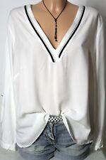 s.Oliver Bluse Gr. 44-46 creme-weiß Langarm Bluse/Tunika mit V-Ausschnitt