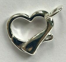 4 Big 925 Sterling Silver Heavy Duty Heart Clasps - Big - 18x16mm - Marked