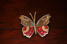 Vintage Butterfly Pin Brooch Multicolor Silver Red Glitter Free Shipping