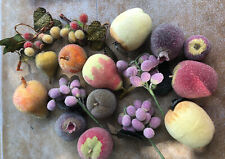 Vintage Sugar Frosted Beaded Fruit Apples Pears Grapes Peach Plum Artificial