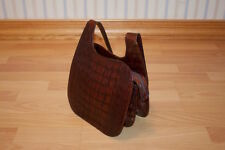 Pibra Genuine Crocodile/Alligator Skin Shoulder Bag in Chocolate/Brown
