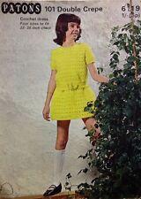 "Patons Vintage Girl's Dress CROCHET Pattern 6119 - 22-28"" Chest"