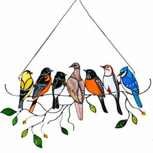 Acrylic Stained Glass Birds Window Hanging Ornament Sun catcher Hardware kit