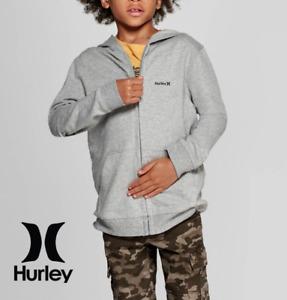 HURLEY Jacket Big Kids Heather Gray Full-Zip Soft Fleece Hoodie - M L XL