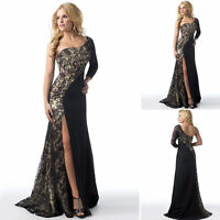 Women's One Shoulder Long Lace Bridesmaid Evening Formal Gown Prom Party Dresses