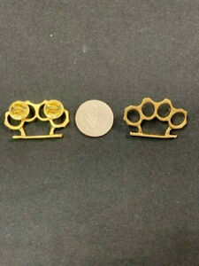Gold Plated Brass Knuckles Biker Pin