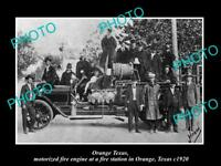 OLD LARGE HISTORIC PHOTO OF ORANGE TEXAS, THE FIRE DEPARTMENT ENGINE c190