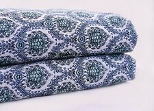 Indian 10 Yard White Floral Sewing Cotton Fabric Screen Print Running Fabric
