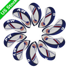 10pcs A Set Golf Iron Head Covers Neoprene 4-Lw Blue&White for Taylormade M4 New