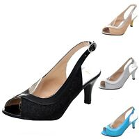 Open Toe shoes Womens Shiny Clubbing Prom Slingback Peep Toe Sandals UK 0-10