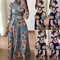 Women Lady Autumn Slim Fit Floral Maxi Dress Boho Elegant Long Dress Holiday New