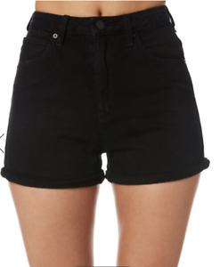 A Brand High Relaxed Black Denim Shorts High Rise W 30 AU 12 EUC