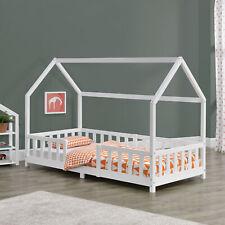 B-WARE Kinderbett mit Rausfallschutz 90x200cm Haus Holz Weiß Bettenhaus Hausbett