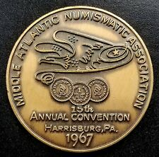 1967 Middle Atlantic Numismatic Association bronze token! 34 mm!