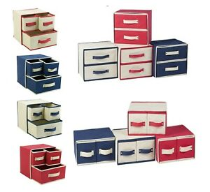 Collapsible Fabric 2 or 3 Drawer Storage Boxes Containers Bits & Bobs Organiser
