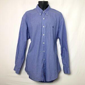 Ralph Lauren Yarmouth Mens LS Blue Dress Shirt w White Pinstripes Sz 17 35 NWOT