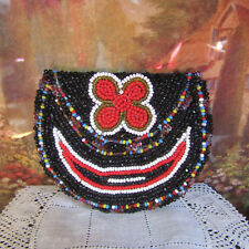 Vtg Antique BEADED LEATHER COIN PURSE Jet Beads Handmade Floral Flowers 40s-60s?
