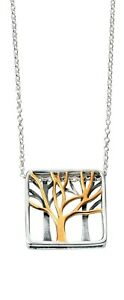 14ct Gold-Plated 925 Sterling Silver Tree Pendant Necklace (45cm / 18 inch)