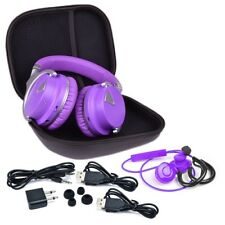 Que Design Rechargeable Bluetooth Wireless Headphone & Wireless Earbuds  Purple