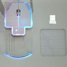 Ultrathin 2.4GHz Wireless Optical Mouse Silent Glowing Transparent LED Game Mice