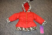 Nwt Girls Pistachio Red Faux Fur Leopard Toddler Coat Hood Hooded 24 Months 2T
