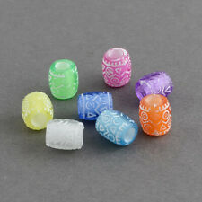 100 Acrylic Assorted coloured Transparent Barrel Beads. 9 x 8mm. Hole size 4mm