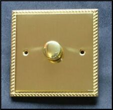 DIMMER LIGHT SWITCH GEORGIAN  BRASS 2 WAY.  NOT SUITABLE FOR LED LIGHTING