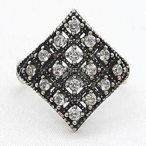 Deco 1.00ctw Diamond Cut White Sapphire 14K Yellow Gold 925 Sterling Silver Ring