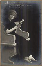 Fadeway Trick Photography - beautiful Woman on Bench Black Dress c1910 RPPC