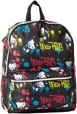Hello Kitty Girls Black Neon Yellow Blue Pink Graffiti Spray paint Backpack NWT