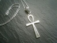 Large Silver Ankh Cross Necklace Pendant Charm Chain Life Symbol UK Seller
