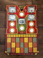"RARE Vintage ""It's The McCoy"" Punch Board Stimulator w/ Silver Dollars, 5$ Bills"
