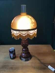 Stunning Table Lamp Victorian Oil Lamp style Fringed Shade Wooden Base