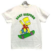 The Simpsons Men's Bart Simpson Skateboarding Licensed T-Shirt White New