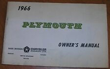 NOS Mopar 66 Plymouth Owners Manual VGC NEW FREE SHIPPING WM4690 Canada