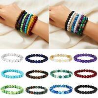 8mm Natural Lava Rock Beads Gemstones Buddha Tiger's Eye Round Bracelet Gifts