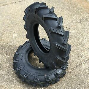 Two New 4.00-8 Lug Heavy Duty Tiller Tires Garden Tractor Tires 400-8 480-8