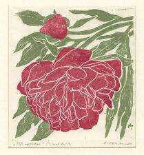 H. Tomanek (*1923 Prien) : Pfingstrose / Pfingstrosen (Paeonia) : Linolschnitt