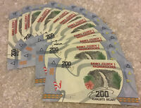 Lot Of 10 X Madagascar Banknotes. 200 Ariary. 2017 Series. Uncirculated Notes.