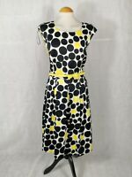 Ladies Dress Size 14 VIRTUELLE Black Yellow Fit And Flare 50s Party Evening
