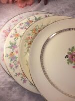 4 Vintage Mismatched China Dinner Plates Pink Green Yellow Florals  # 247