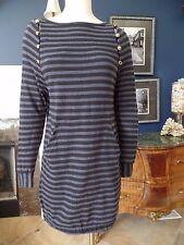 MARC MARC JACOBS Women's XS Black/Blue Striped Long Sleeve Jersey Shift Dress P#