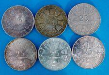 6x 25 Schilling 1956-1971 Silber Münze Österreich Konvolut LOT Posten 78 Gramm
