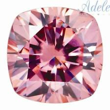 Loose Moissanite 9mm 4ct Peachy-Pink Cushion Shape Certified USA