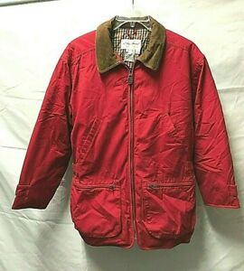 Women's EDDIE BAUER Red Barn Field Coat Leather Collar Goose Down Fill  ~ Medium