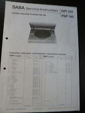 ORIGINALI service manual Saba PSP 185