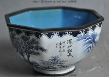"4"" old chinese Landscapes bronze Cloisonne enamel Shanshui Tree statue Bowl Cup"