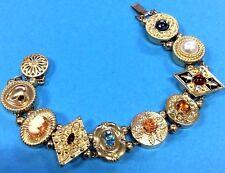 """Vintage Krementz Victorian Slide Bracelet 14k Gold Filled Genuine Gemstones 7"""""""